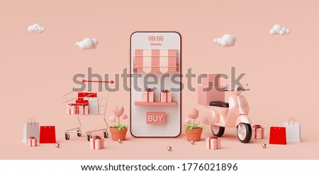 E-commerce concept, Shopping online and delivery service on mobile application, Transportation or food delivery by scooter, 3d rendering