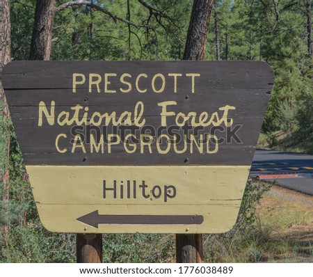 Prescott National Forest Campground Sign in Prescott,  Arizona