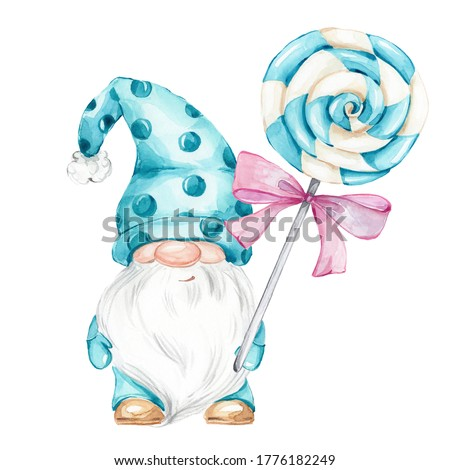 Cute blue gnome and christmas candy and pink bow; watercolor hand draw illustration; with white isolated background