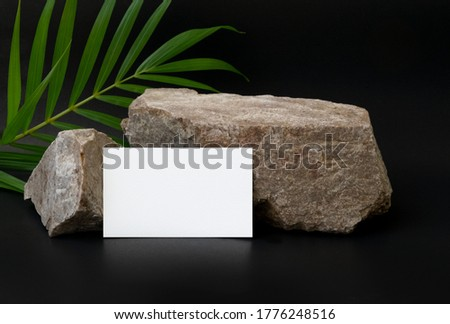business card mock up with stone and green leaf  on dark background