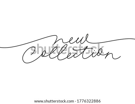 New collection continuous line vector lettering. Modern slogan handwritten vector calligraphy. Black paint lettering isolated on white background. Design for social media, advertising design, banner, Royalty-Free Stock Photo #1776322886