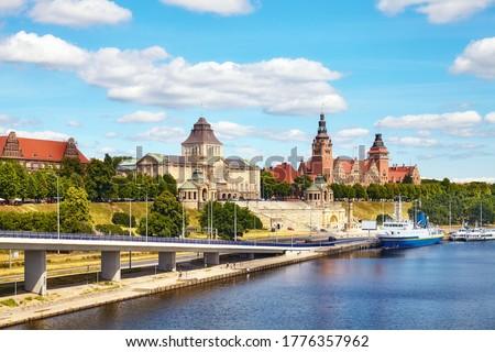 Szczecin waterfront with Chrobry Embankment, Poland. Royalty-Free Stock Photo #1776357962