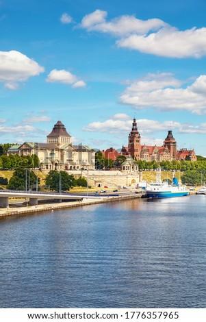 Szczecin waterfront with Chrobry Embankment, Poland. Royalty-Free Stock Photo #1776357965