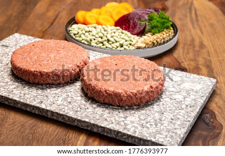 Source of fibre plant based vegan soya protein burgers, meat free healthy food close up Royalty-Free Stock Photo #1776393977