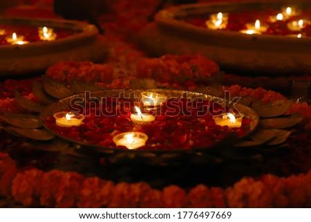 traditional butter lamp. diwali lights decoration.