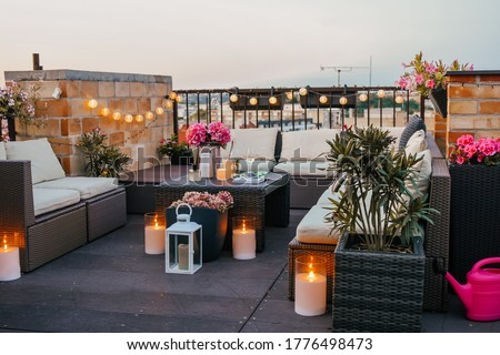 Evening at my home terrace Royalty-Free Stock Photo #1776498473