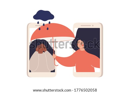 Girl comforts her sad friend over the phone. Woman supports female with psychological problems. Online therapy and counselling for people under stress and depression over online services. Vector #1776502058