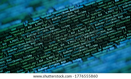 Blue green unique background. Programming language on laptop computer screen. Program code PHP HTML JavaScript of site. Computer code on laptop (web developing). Template of website, selective focus.
