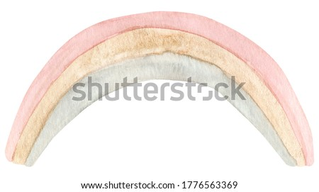 Watercolor hand painted cute rainbow. Illustration isolated on white background. Design for logo, baby textile, print, nursery decor, children decoration, kids room. Positive clipart printing fabric.