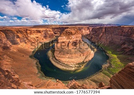 Horseshoe bend canyon river landscape. Panorama of Horseshoe bend river canyon. Horseshoe bend canyon view #1776577394