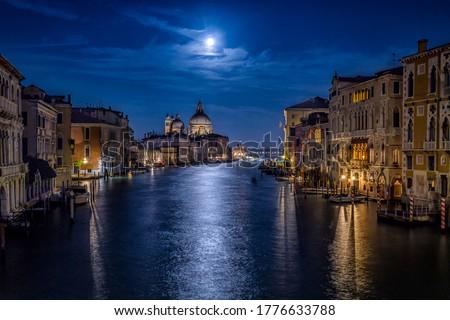 Venice Grand canal in night scene. Venezia Grand canal in night. Night Grand canal in Venice #1776633788