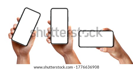 Man hand holding the black smartphone with blank screen and modern frameless design three positions angled, vertical and horizontal - isolated on white background Royalty-Free Stock Photo #1776636908