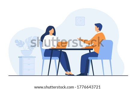 Job interview conversation. HR manager and employee candidate meeting and talking. Man and woman sitting at table and discussing career. Business or human resource concept Royalty-Free Stock Photo #1776643721