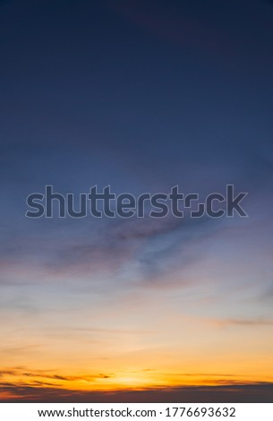 Dusk sky vertical with colorful sunlight on twilight in the evening  Royalty-Free Stock Photo #1776693632