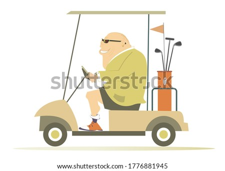 Comic golfer man in the golf cart illustration. Cartoon smiling fat bald-headed man in sunglasses is going to play golf in the golf cart isolated on white