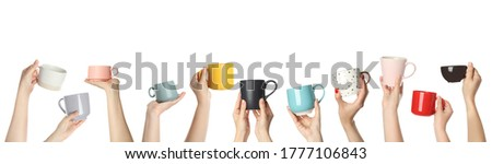 Collage with photos of people holding different cups on white background, closeup. Banner design