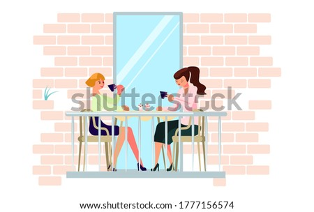 Two young women have tea time on the balcony. Relax and have a good time during the coronavirus pandemic. Flat Art Rastered Copy