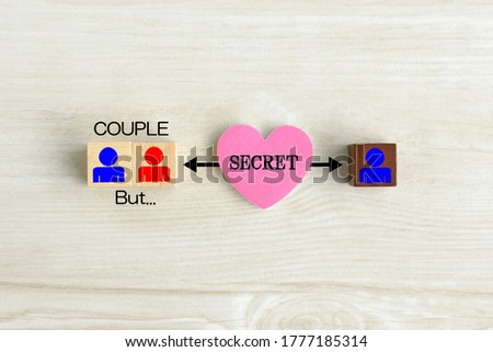 Love affair images, person correlation diagram composed by wooden blocks with human pictogram and heart object