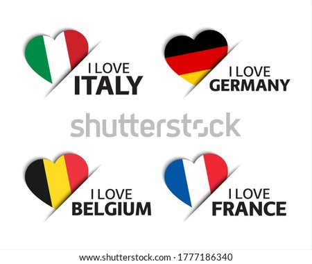 Set of four Italian, German, Belgian and French heart shaped stickers. I love Italy, Germany, Belgium and France. Made in Italy, Made in Germany. Simple icons with flags isolated on a white background #1777186340