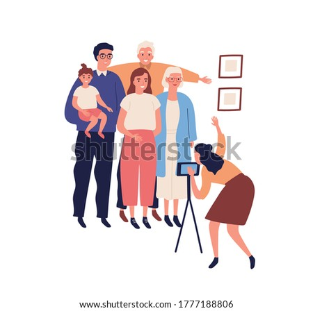 Happy big family making photo portrait on smartphone camera. Grandparents, grandchildren, relatives and little child say cheese together. Flat vector cartoon illustration isolated on white background
