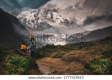 Kangchenjunga, Hiking into the mountain, Goechala Trek in Sikkim, Travel Inspiration, Motivational Image, Trekking in India Royalty-Free Stock Photo #1777319813