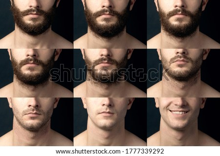 Beard, shave before and after. Male chin close-up with a beard, bristles and smooth-billed. Collage of varying degrees of hair growth. Royalty-Free Stock Photo #1777339292