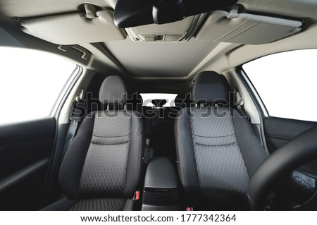 Front cloth car seat frontal view with isolated windows Royalty-Free Stock Photo #1777342364