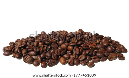 Coffee beans. Isolated on a white background. Close up of coffee beans. Coffee with free space on top. Coffee beans designer template. #1777451039