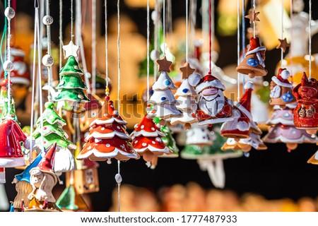 Christmas Ceramics Decorations on Christmas Market at Riga, Latvia - image