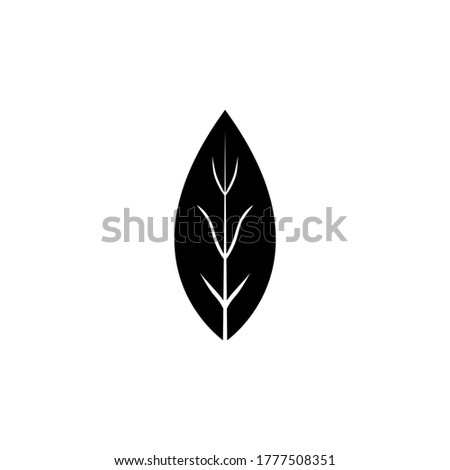 Aromatic Bay Laurel Leaf, Aroma Spice. Flat Vector Icon illustration. Simple black symbol on white background. Aromatic Bay Laurel Leaf, Aroma Spice sign design template for web and mobile UI element Royalty-Free Stock Photo #1777508351