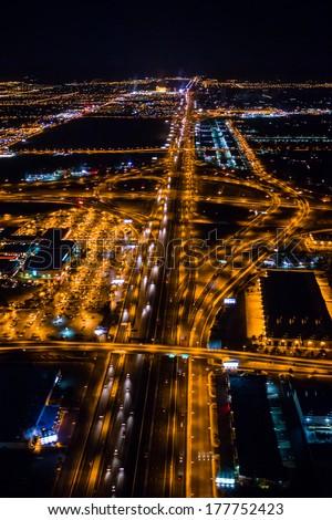 Aerial view of Las Vegas by night, Nevada #177752423