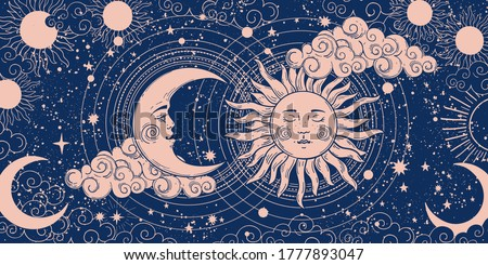 Magic banner for astrology, divination, magic. The device of the universe, crescent moon and sun with moon on a blue background. Esoteric vector illustration, pattern #1777893047