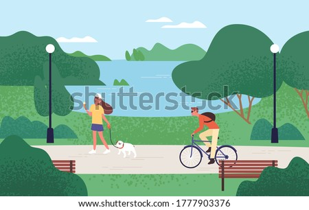Relaxed people enjoying recreational outdoor activities at summer forest park vector flat illustration. Woman eating ice cream and walking with dog, man riding on bike. Beautiful natural landscape Royalty-Free Stock Photo #1777903376