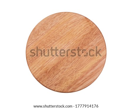Round chopping board isolated on white Royalty-Free Stock Photo #1777914176