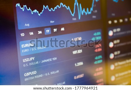Currency pairs on stock market or forex trading platform. Euro / dollar on stock market or forex trading platform. Royalty-Free Stock Photo #1777964921