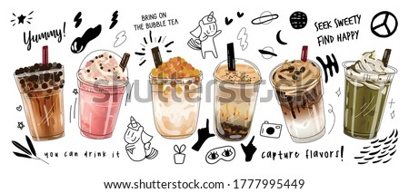 Bubble milk tea Special Promotions design, Boba milk tea, Pearl milk tea , Yummy drinks, coffees and soft drinks with logo and doodle style advertisement banner. Vector illustration. #1777995449