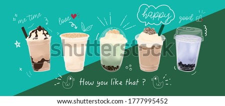 Bubble milk tea Special Promotions design, Boba milk tea, Pearl milk tea , Yummy drinks, coffees and soft drinks with logo and doodle style advertisement banner. Vector illustration. #1777995452