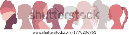Silhouette group of multiethnic women who talk and share ideas and information. Social network female community. Communication and friendship between women or girls of diverse cultures  Royalty-Free Stock Photo #1778206961