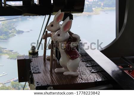 Kawaguchiko, Japan - July 31 2015: The statue of two white Rabbits on the cable car at Mt.Fuji Panoramic Ropeway.
