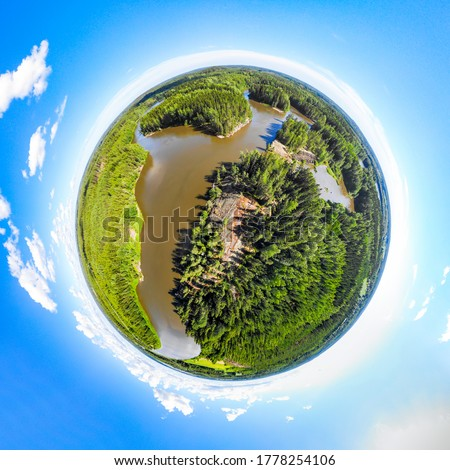 A three dimensional panoramic view of of rapid Ahvionkoski at Kymijoki river, Finland, in a mini planet panorama style. Royalty-Free Stock Photo #1778254106