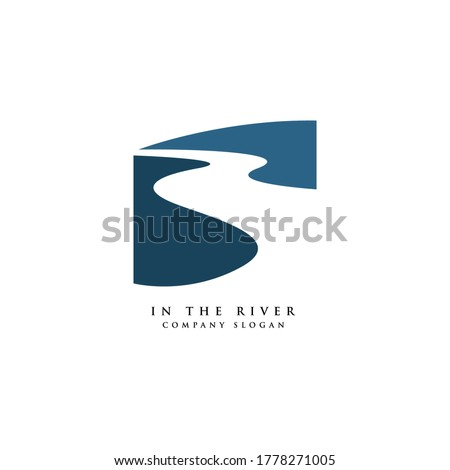 winding road river creek logo design vector illustration Royalty-Free Stock Photo #1778271005