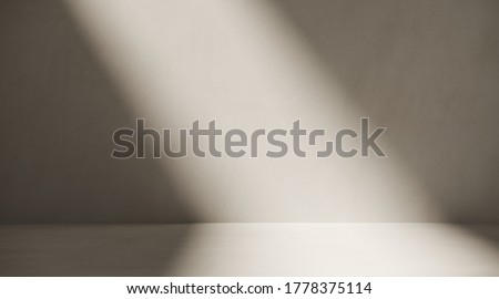 Minimal cosmetic background for product presentation. Sunshade shadow on plaster wall. 3d render illustration.
