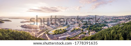 Aerial drone, Oslo skyline sunset, HDR panorama photo form drone #1778391635
