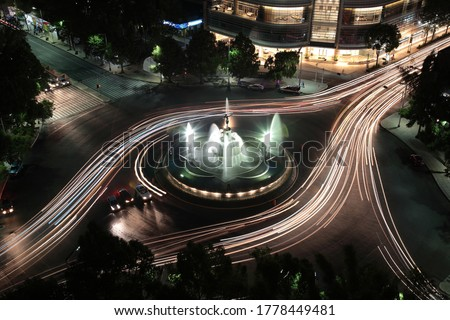 Night view of Diana the Huntress Fountain and car lights trails on promenade of the reform in Mexico city, Mexico Royalty-Free Stock Photo #1778449481
