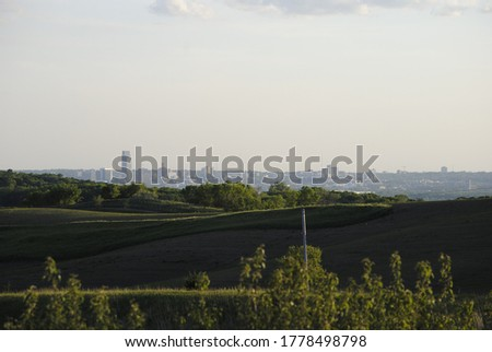View Of Omaha Skyline From Council Bluffs Iowa