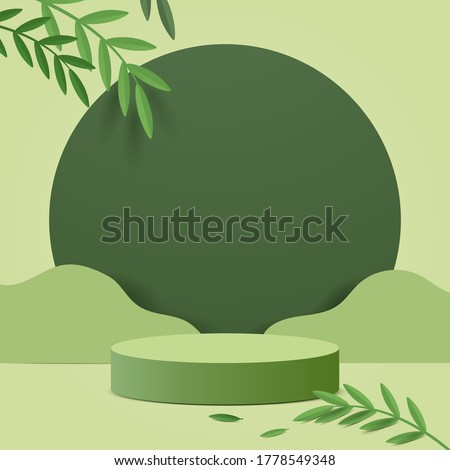 Abstract minimal scene with geometric forms. cylinder podium in green background with green plant leaves. product presentation, mockup, show product, podium, stage pedestal or platform. 3d vector #1778549348