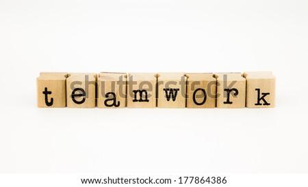 closeup teamwork wording isolate on white background #177864386