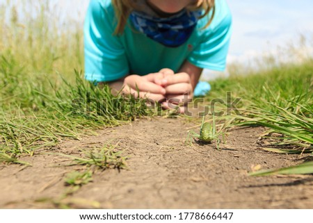 Young girl in sport suit laying in grass and watching big green grasshopper. Closeup of locust standing on dry brown ground. Insect wildlife. Shallow depth of field. #1778666447