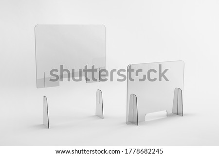 Sneeze guards, social distancing barriers and shields.  Royalty-Free Stock Photo #1778682245