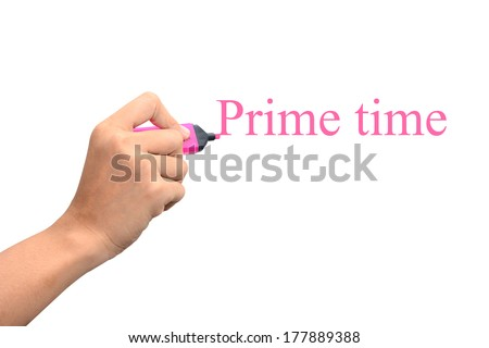 Hand writing prime time concept  #177889388
